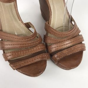 Frye Shoes - Frye Sandals Brown Leather Corrina Wedge Strappy